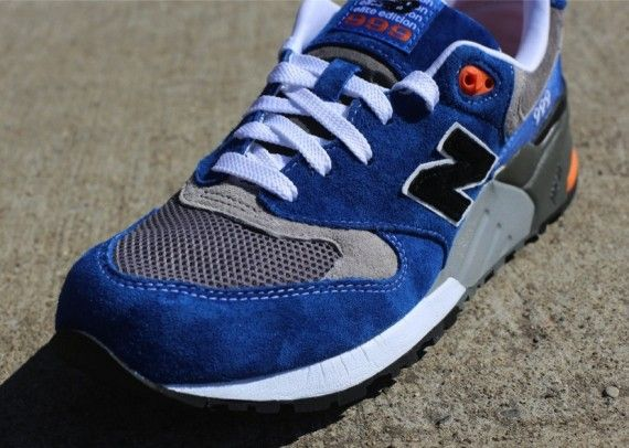 new balance 574 elite running trainers in grey and blue