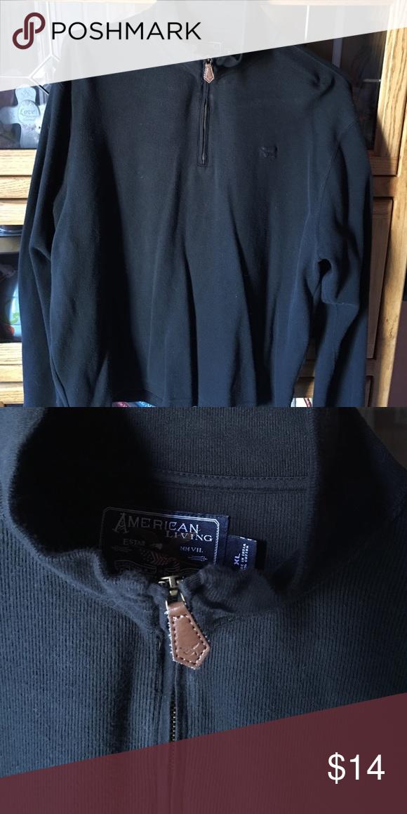 Men's zipper neck black sweater. Men's long sleeve, zipper neck sweater. American Apparel Sweaters Crewneck