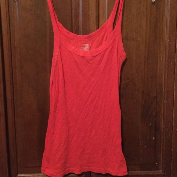 Red cotton tank from old navy Great condition. Red cotton tank Old Navy Tops Tank Tops