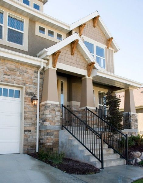Craftsman Typically Use Exterior Finishes Like Cedar Shakes Stone And Ship Lap Siding The