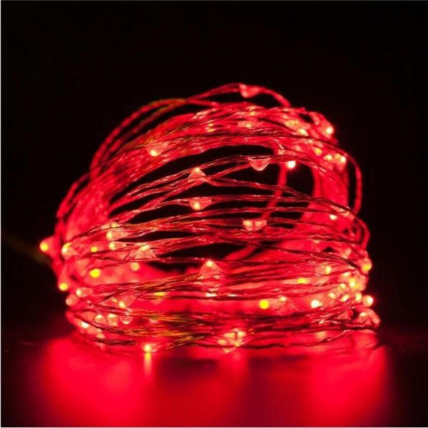 10m 100 Led Usb Silver Copper Wire Flexible String Fairy Light Xmas Wedding Party Decor Red