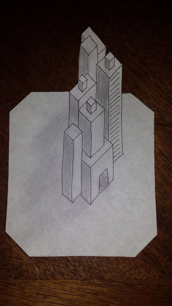 3D Buildings on Grid Paper! Building - 3d graph paper