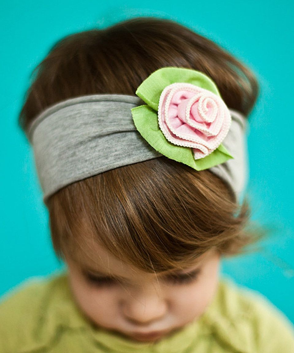 Love this Pink & Gray Petite Rose Headband by Snugars on #zulily! #zulilyfinds