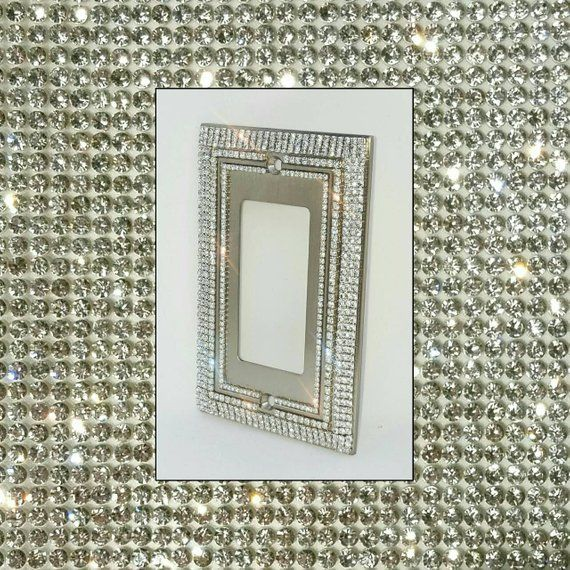 Decorative Clear Crystal Rhinestone Bling Switch Plate Cover Light