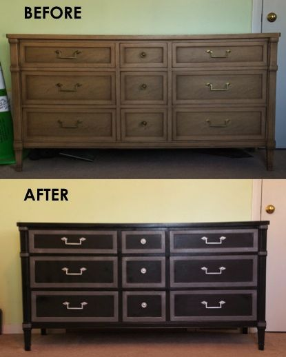 Refinished Dresser Black And Gray Gray Has Glitter Dresser