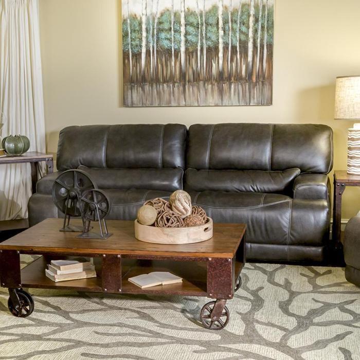Leather Power Reclining Sofa In Charcoal | Nebraska Furniture Mart