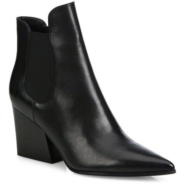 d4a77863d9de KENDALL + KYLIE Finley Leather Point-Toe Block-Heel Booties (350 BGN) ❤  liked on Polyvore featuring shoes