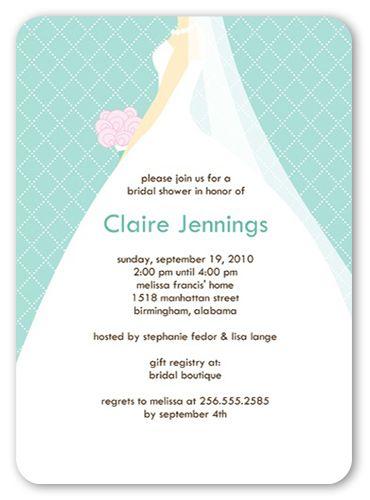 bridal shower invitation wedding march aqua rounded corners blue