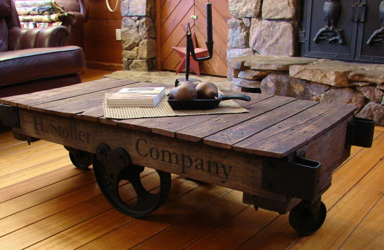 Antique Lumber Cart Coffee Table industrial wood Pinterest