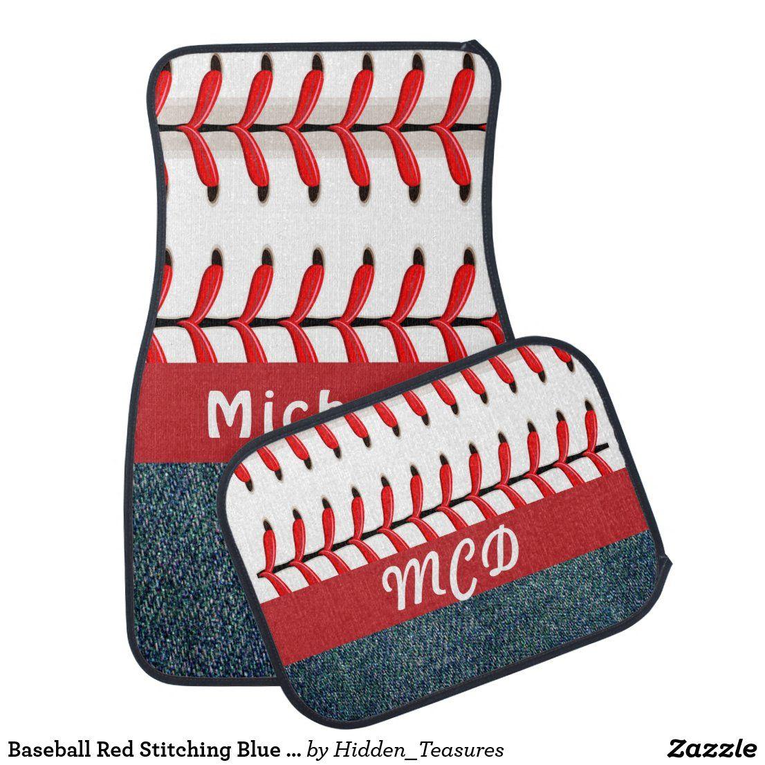 Baseball Red Stitching Blue Denim Editable Car Floor Mat Zazzle Com In 2020 Blue Denim Car Floor Mats Baseball Stitch