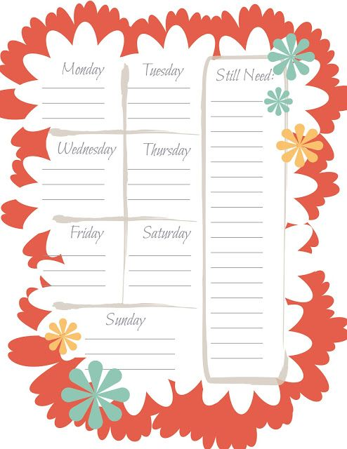 This Designer Cooks Printable Weekly Menu Planner for Spring
