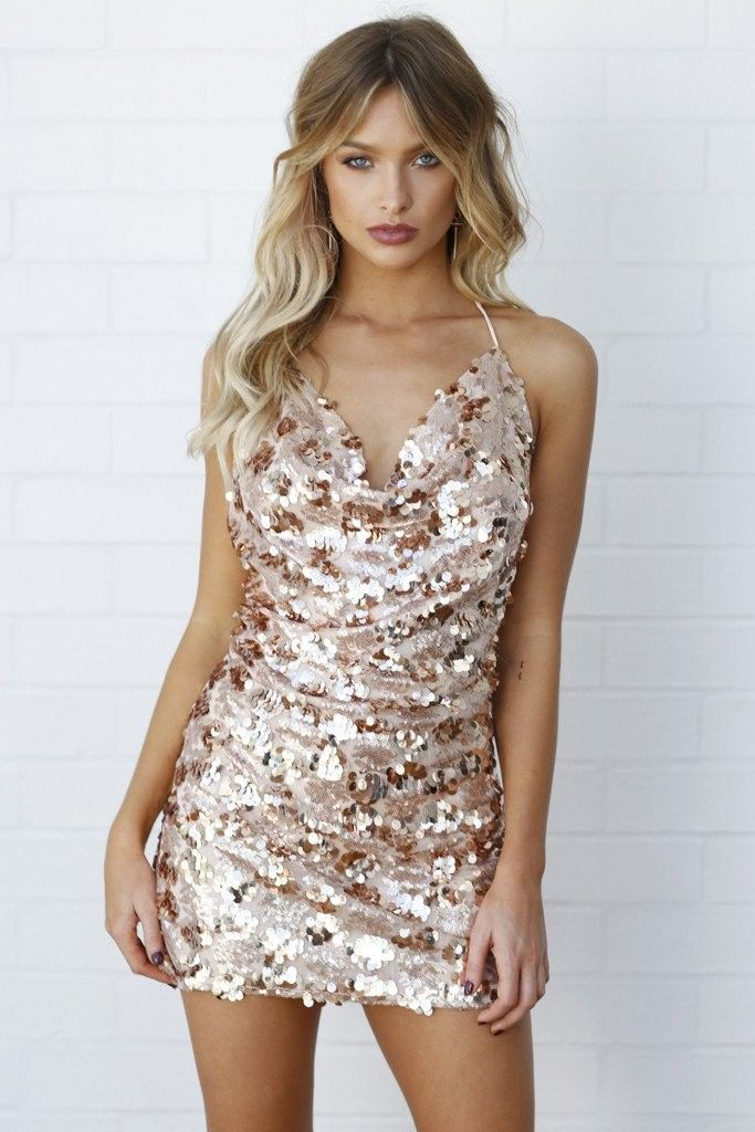 Rose Gold Mesh Sequin Low Cowl Dress