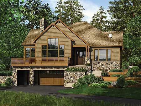 Plan W69403AM: Sloping Lot, Vacation, Cottage House Plans & Home Designs