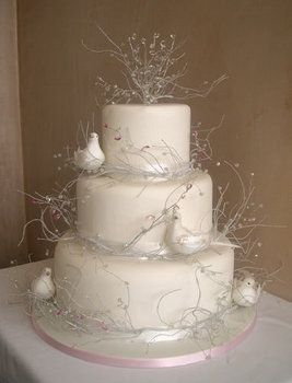 Wedding, Cake, White, Birds - maisie fantaisie