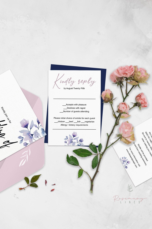 Blush Navy RSVP Template, Response Card, Wedding RSVP Card