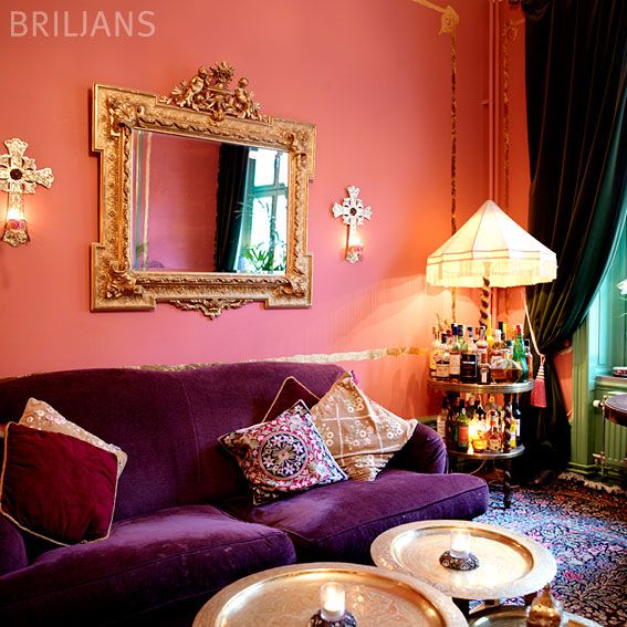 Coral And Purple Living Room Featured On Http Www