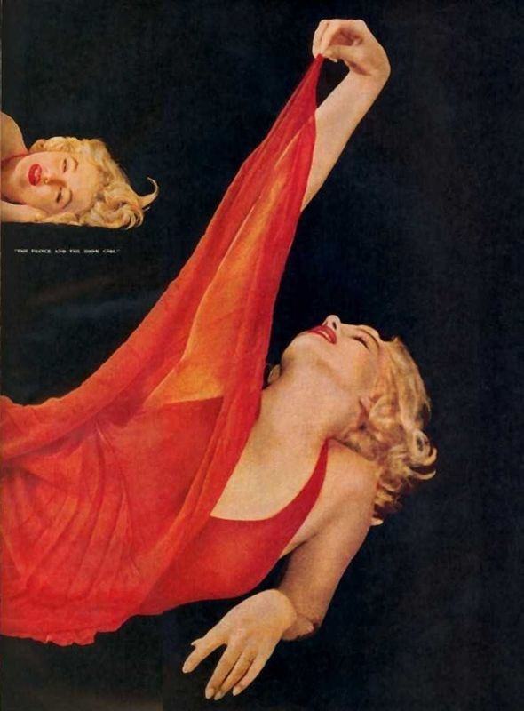 marilyn red dress sitting photos by milton greene for