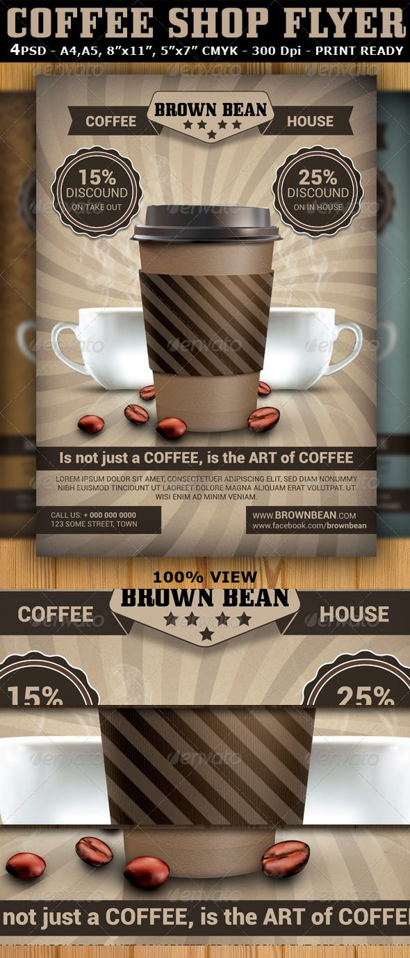 Coffee Shop Magazine Ad Or Flyer Template V2