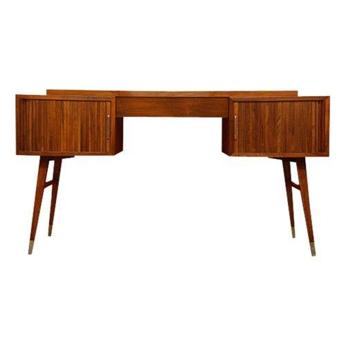 Mid Century Modern Walnut Tambour Door Desk Mobilier