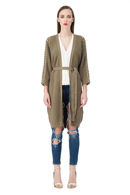 65607e58265 Cardigan en tricot avec ceinture et lacets - Elisabetta Franchi ...