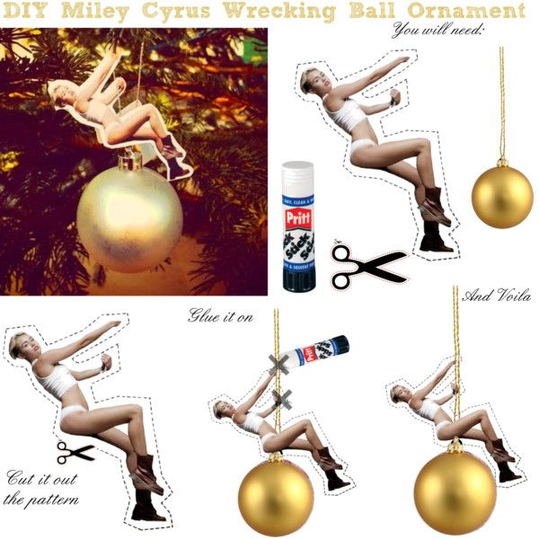 Miley Cyrus Wrecking Ball Christmas Ornament.Pin On Lol