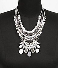 MIXED BEAD AND CHAIN BIB NECKLACE