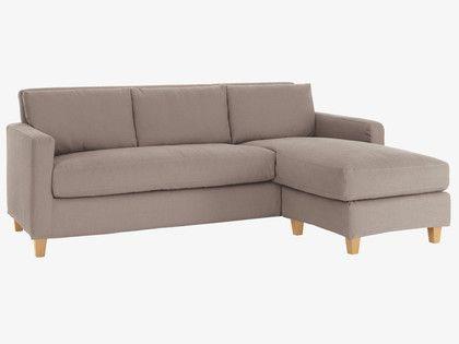 Chester Natural Fabric 3 Seater Chaise Sofa Oak Stained Feet Chaise Sofa Corner Sofa Sofa