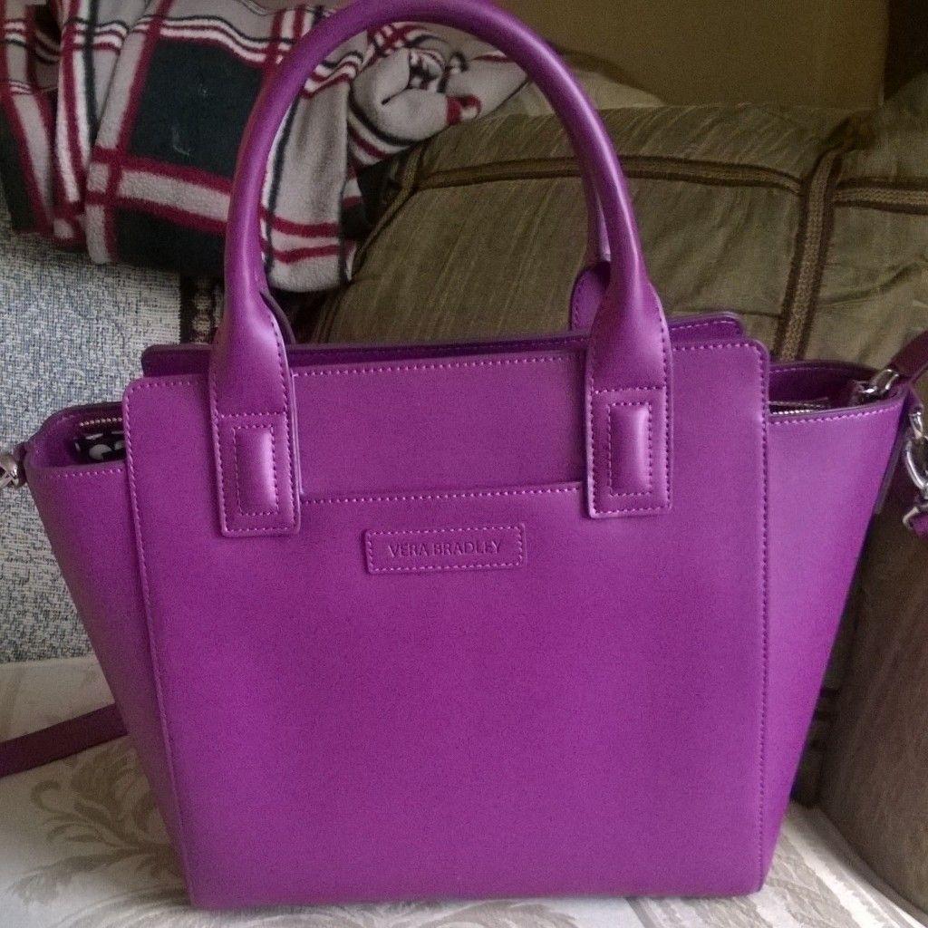 f4c6a4a901 Vera Bradley Faux Leather Plum Purple Satchel Handbag Purse ...