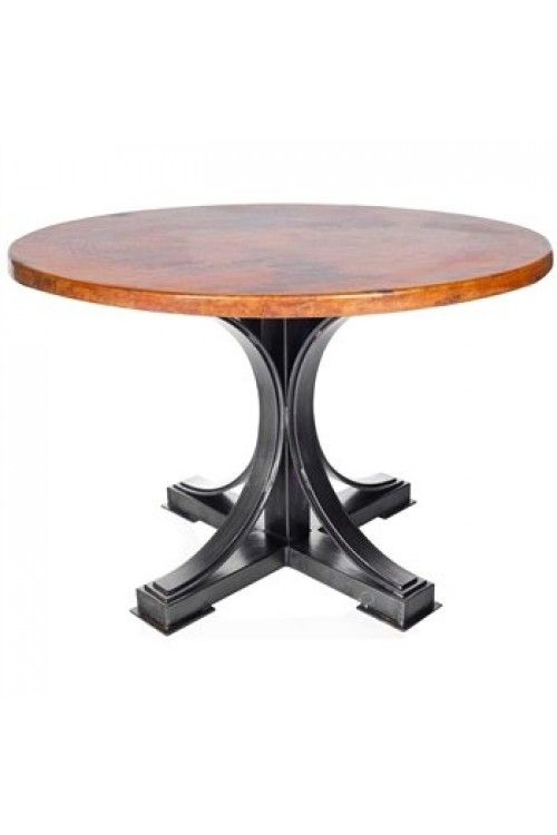 """winston dining table with 72"""" round hammered zinc top"""