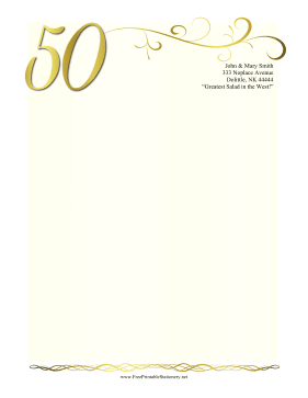 Whether It Is For A Wedding Or A Business This Fiftieth Anniversary Stationery Decorated In Gold With A Large Numb 50th Anniversary Stationery Kids Stationery
