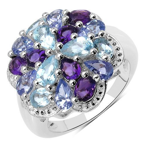 3.57 Carat Genuine Amethyst, Tanzanite & Blue Topaz .925 Sterling Silver Ring