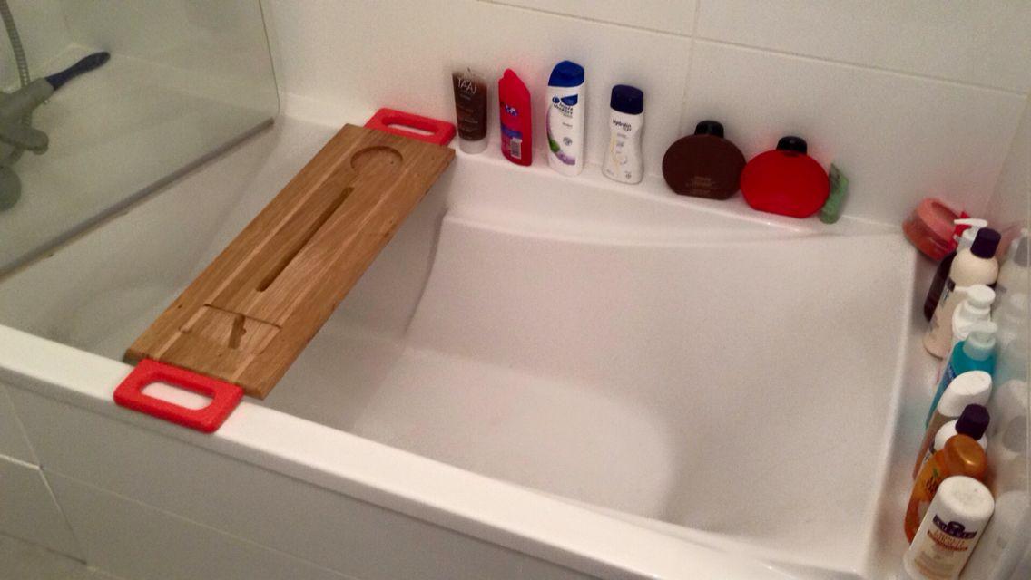 Tablette salle de bain bois et corail | Bath caddy, Bath ...