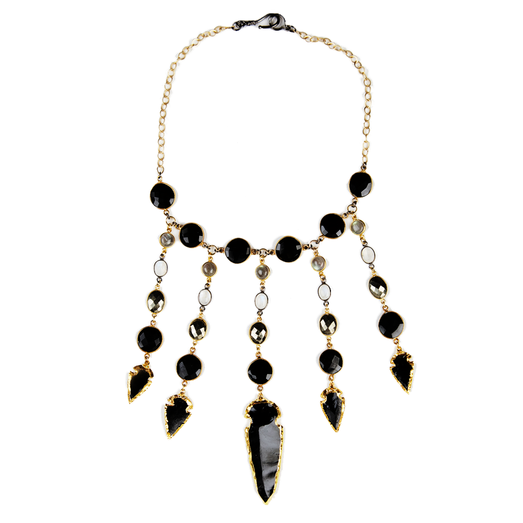 Obsidian Arrowhead Bib Necklace. Pump up the drama with this one-of-a-kind statement necklace. Five obsidian arrowheads are the stars of this creation, accented with bezel-set gemstones, 22-kt gold vermeil and rhodium-plated sterling silver accents.  26 inches. #crystal #druzy #rawcrystal #gemstone #necklace #statementnecklace #jewelry #spakle #fashiondiaries #fashion