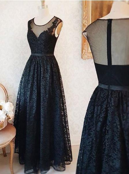 Long Black Prom Dress,Lace Prom Dress Vintage,Lace Bridesmaid Dresses Simple,PD00302 #lacebridesmaids