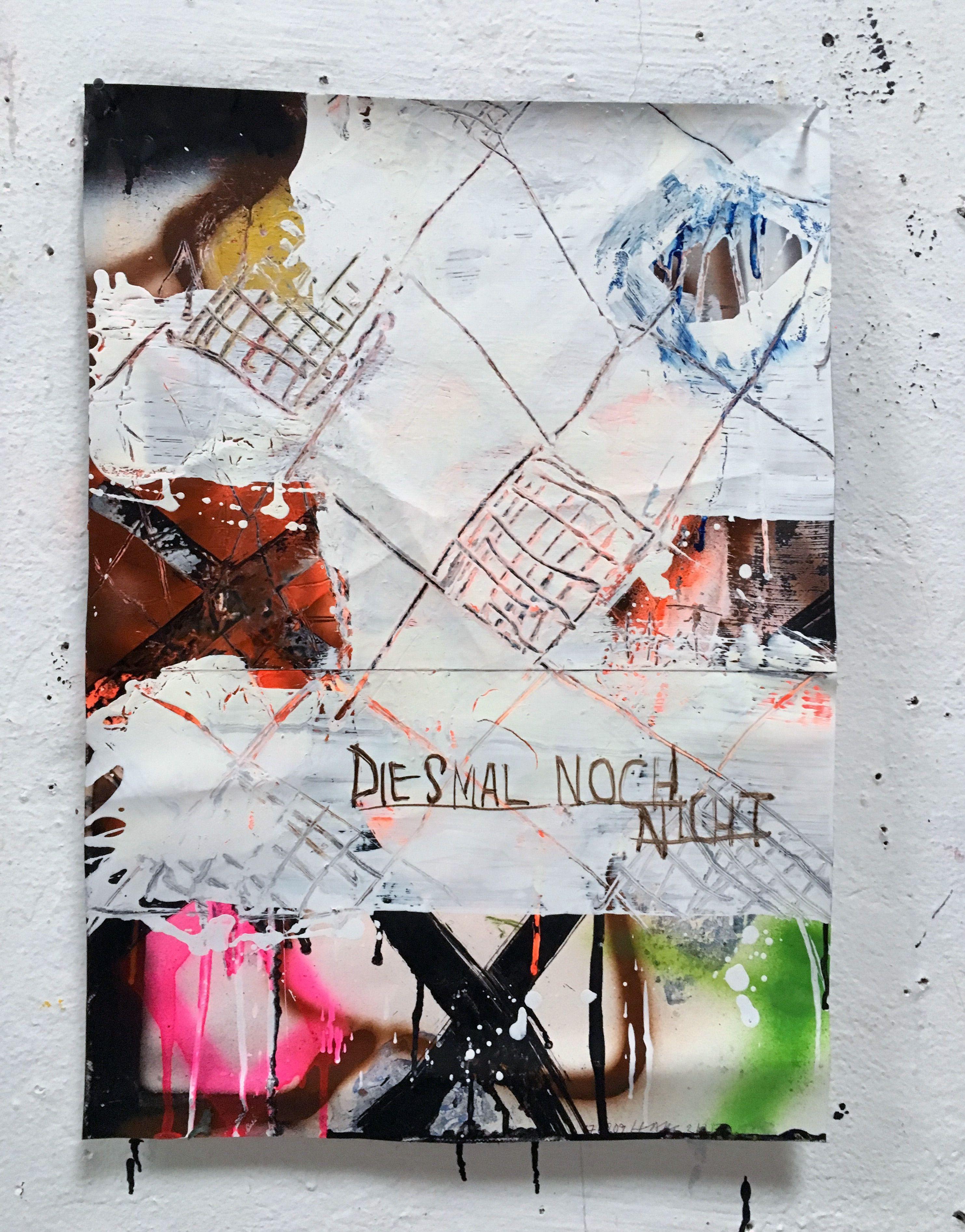 Hermann Josef Hack, DIESMAL NOCH NICHT, 170209, painting and spray paint on tarpaulin, 63 x 45 cm, 2017
