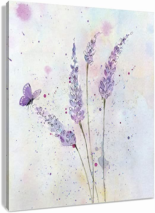 Butterfly Bathroom Wall Decor Beautiful Hvest Lavender Canvas Wall Art Butterfly With Purple Flowe In 2020 Butterfly Art Painting Butterfly Watercolor Artwork Painting
