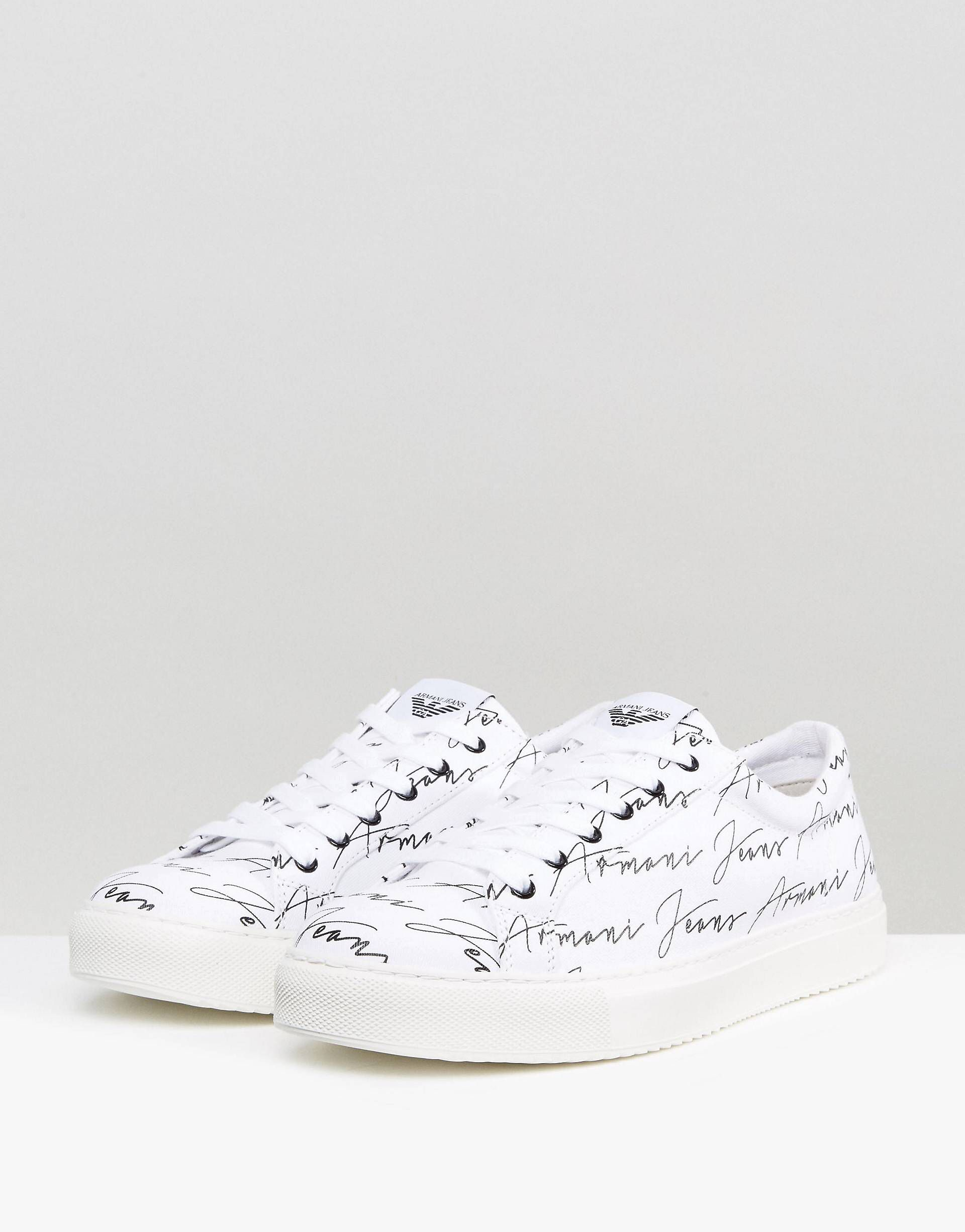 low cost genuine shoes official images Armani Jeans All Over Logo Trainers in White | boyfriend ...