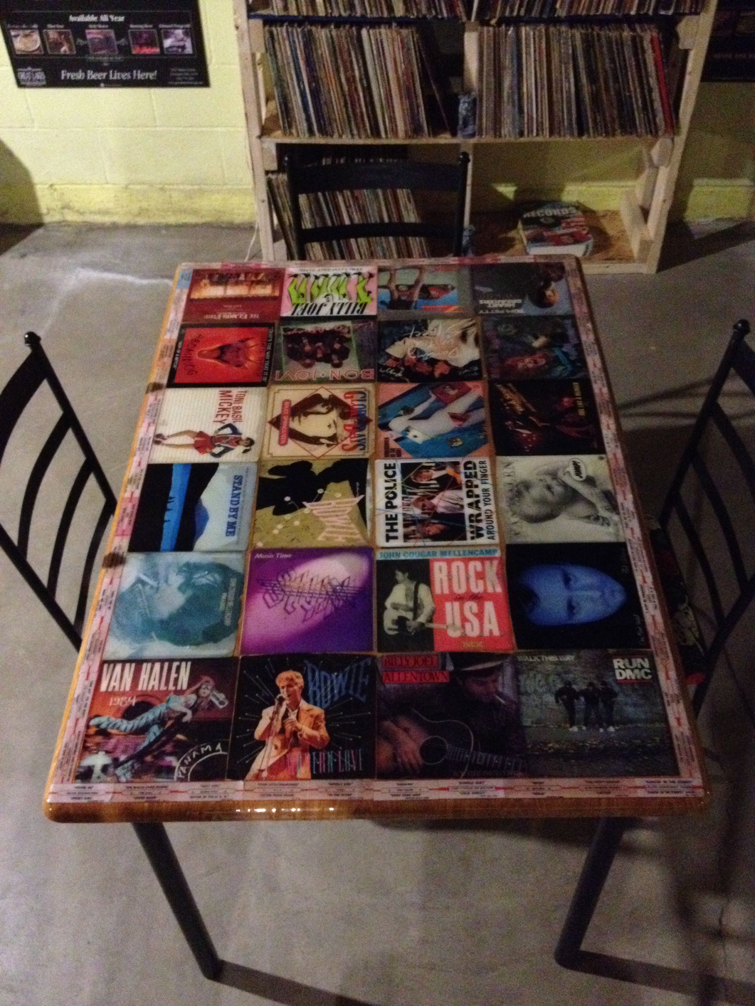 Cool Table My Husband Made Plain Table 45 Record Sleeves Outlined With Jukebox Song Labels Then Lacquere Vinyl Record Crafts Record Crafts Diy Home Furniture