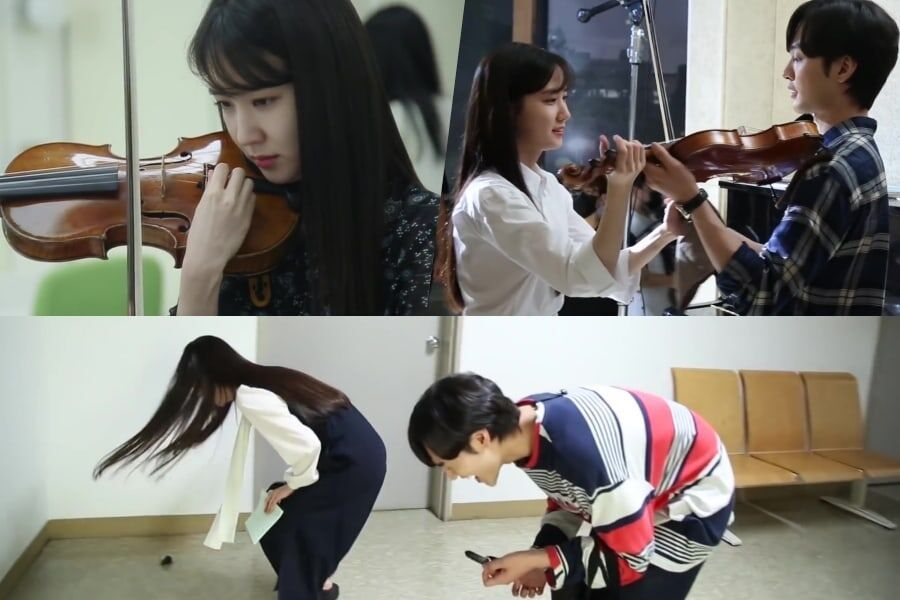 "Watch: Park Eun Bin Introduces Her Violin + Shows Chemistry With Kim Min Jae On Set Of ""Do You Like Brahms?"""