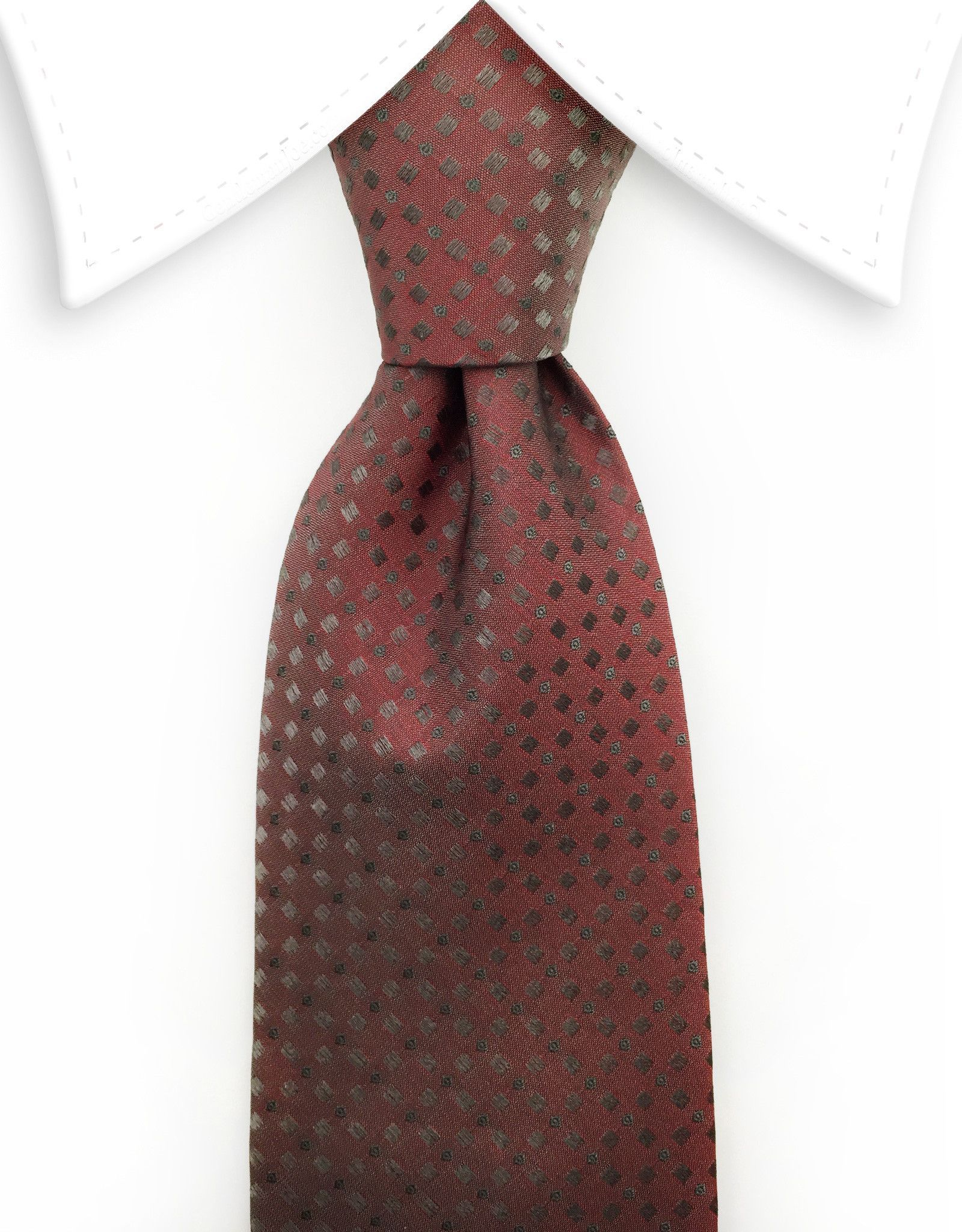 Muted Brick Red Tie With Diamonds His Accessories Tie Red