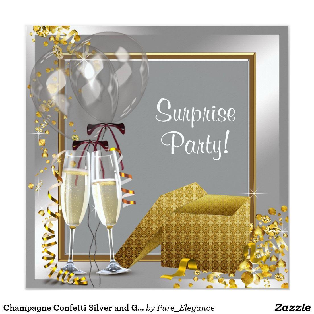 Champagne confetti silver and gold surprise party card surprise champagne confetti silver and gold surprise party invitation stopboris Choice Image