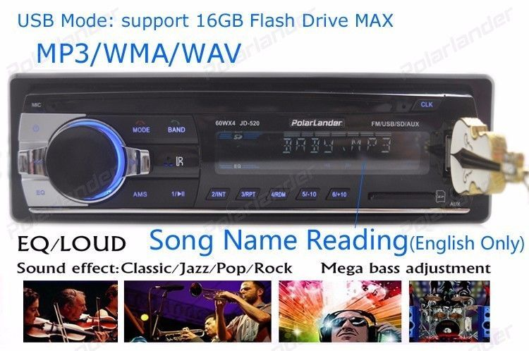 Car Radio Stereo Player Bluetooth Phone AUX-IN MP3 FM/USB/1
