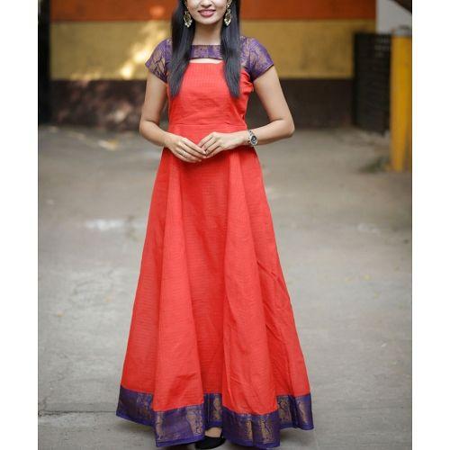 Sungudi - Imperial Scarlet Madhurai Zari Border Maxi Dress #saridress