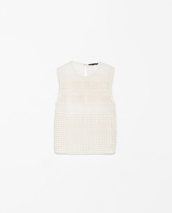 ZARA - NEW THIS WEEK - EMBROIDERED SLEEVELESS TOP