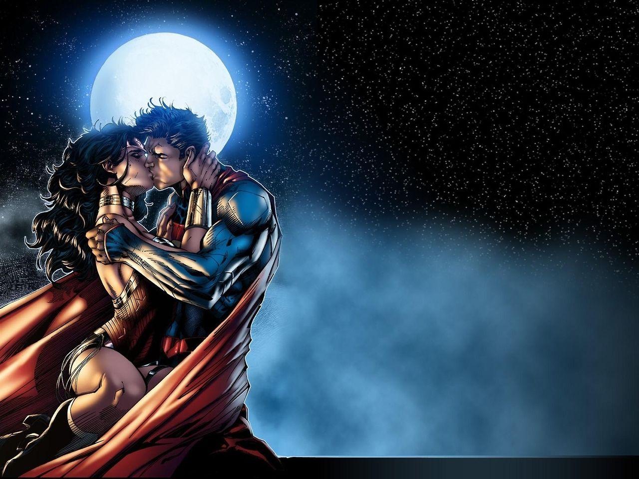 Wallpaper of the Superman Wonder Woman kiss by DC artist