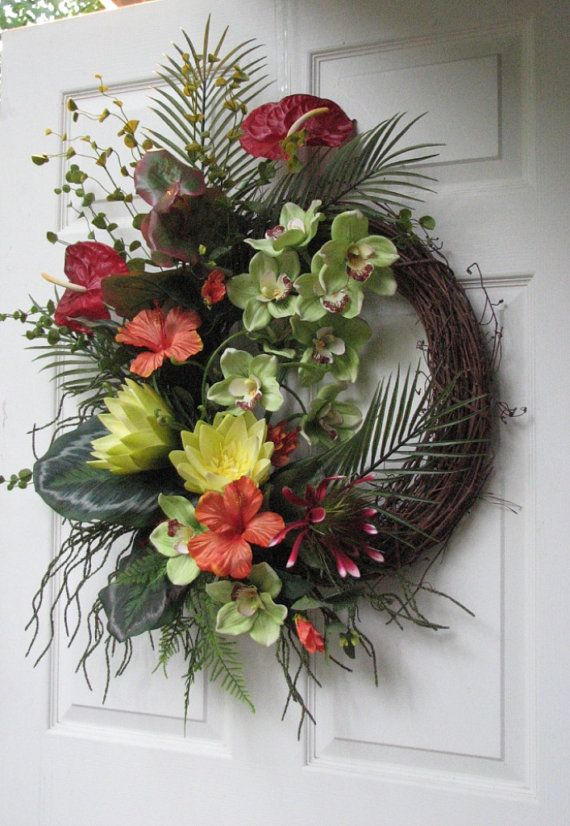 Spring wreath tropical wreath welcome wreath spring decor summer Wreath Beach Wreath family wreath