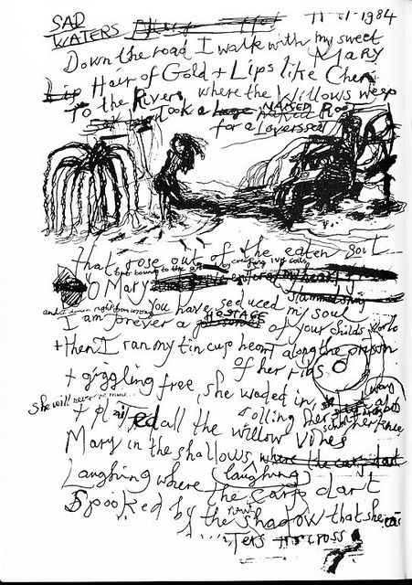 Nick Cave's hand-written lyrics to the song Sad Waters