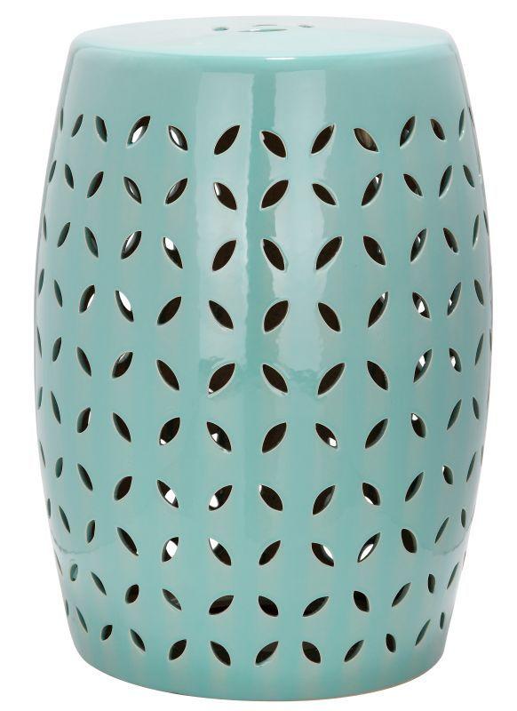 Safavieh ACS4509 Lattice Petal Ceramic Garden Stool Robins Egg Blue Home Decor Garden Decor Garden Stools
