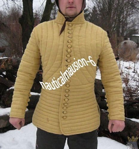 Medieval-Gambeson-Medieval-Padded-collar-full-sleeves-Thick-yellow-color-slim