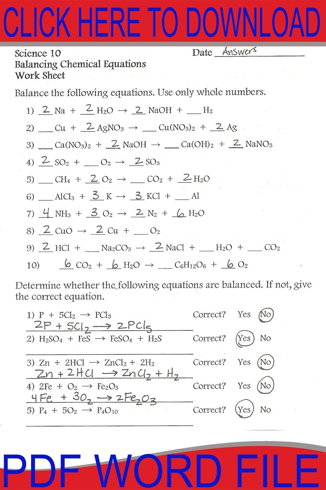 Balancing Equations Worksheet  Workouts    Equation